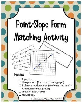 point slope form matching activity  Point Slope Form Matching Activity | Parallel, perpendicular ...