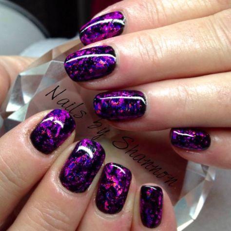 purplenailsdesignssquovalblackgloss  purple nail art