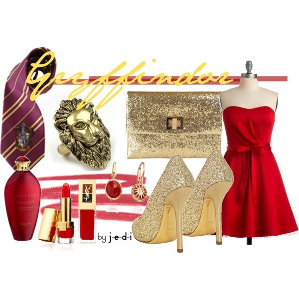Gryffindor., created by j-e-d-i on Polyvore - LOVE the dress, shoes, and purse!!!!