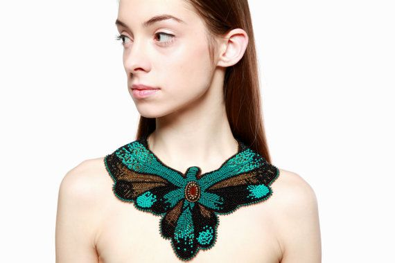 Seed bead embroidered large massive necklace by RasaVilJewelry, €150.00