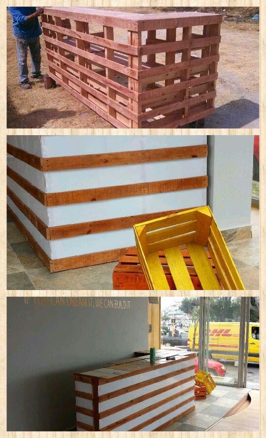 Mostrador de palets reciclados y acrilico - Mostrador de palets ...