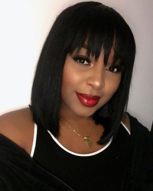 Short Bob with Bangs Hairstyles   New Natural Hairstyles -   20 bangs hairstyles For Black Women ideas