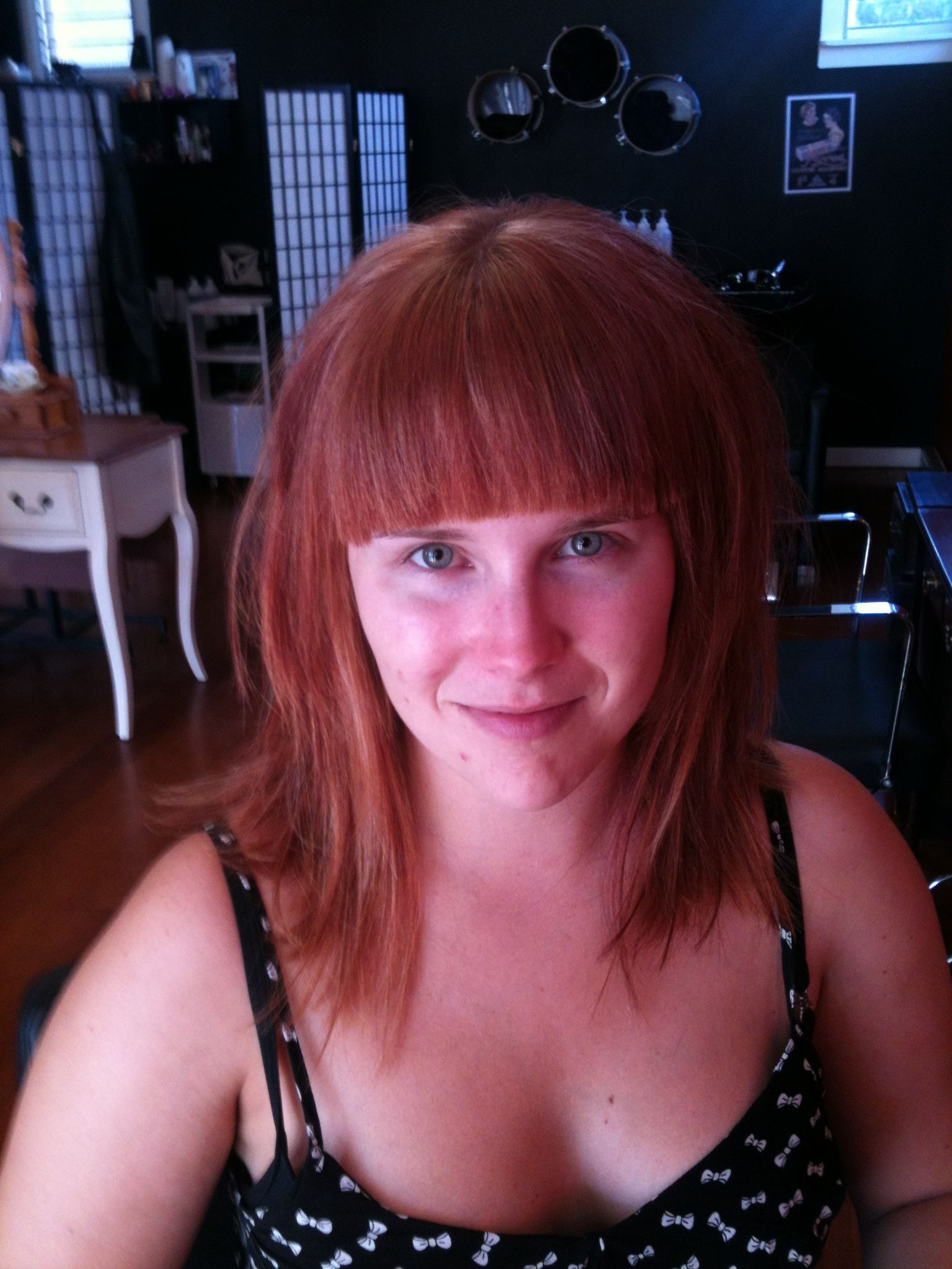 In her way to blonde with a full fringe by Live & Let Dye