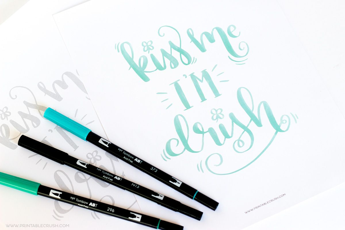 Free Printable St Patrick S Day Brush Lettering Worksheet