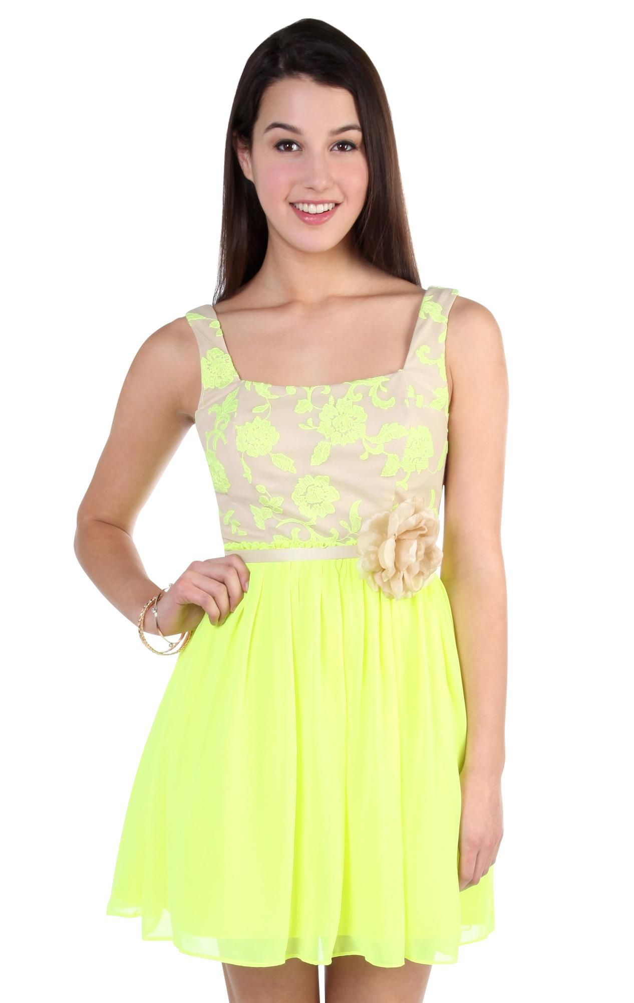 contrast neon party dress with sequin embroidered bodice