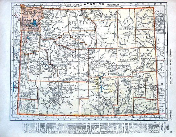 Wyoming Map, Alaska Map - US State Map - 1942 Vintage Book Page ...