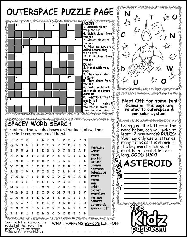 Printable Worksheets space science worksheets : Outer Space Activity Puzzle Page Sheet - Free Coloring Pages for ...