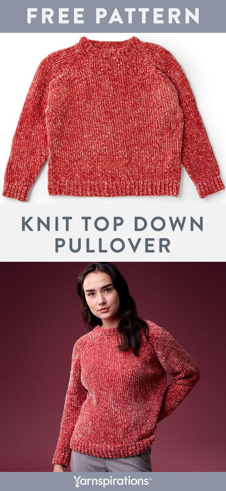 Free Knitting Pattern   Bernat Velvet Knit Top Down ...