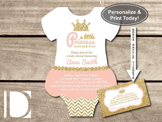 Little Princess Baby Shower Invitation, Onesie Invitation, Tutu, Pink,  Gold, Glitter