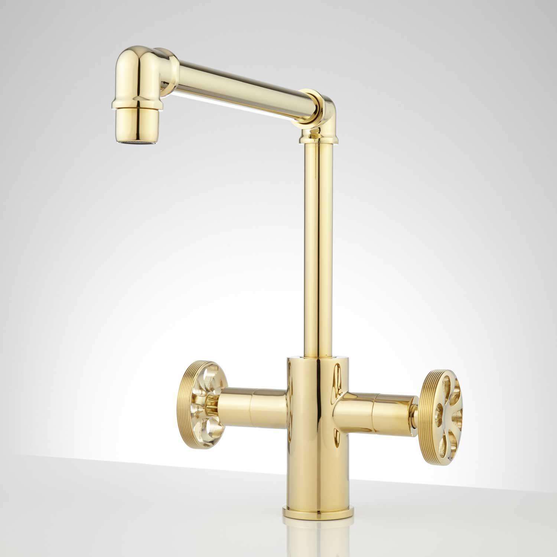 Edison single hole dual handle kitchen faucet polished brass