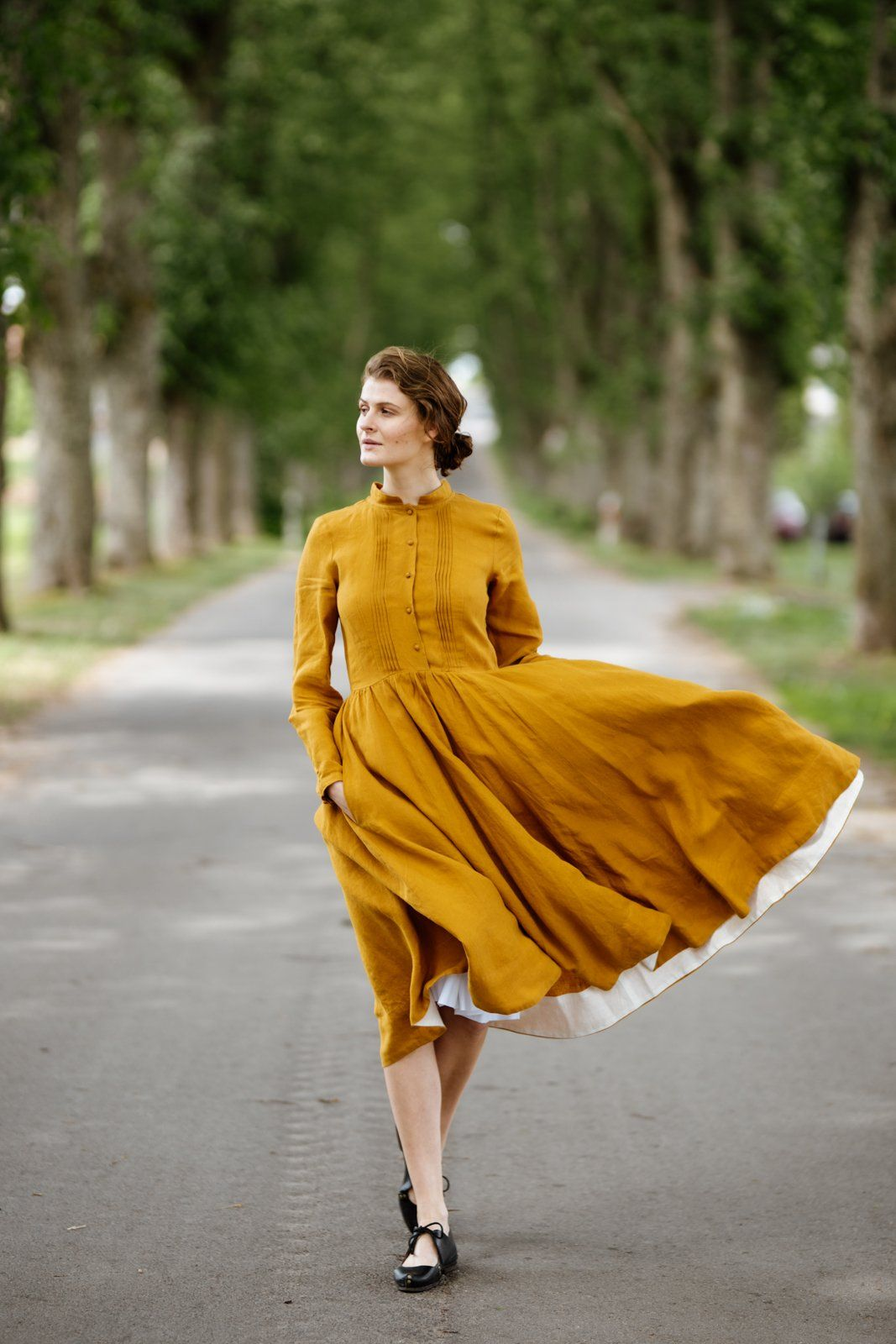 Mustard Linen Dress with Mandarin Collar (With images