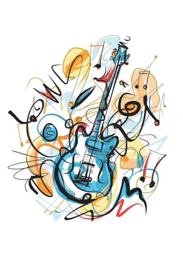Displate Poster my guitar music #guitar #hand #drawing #colorful