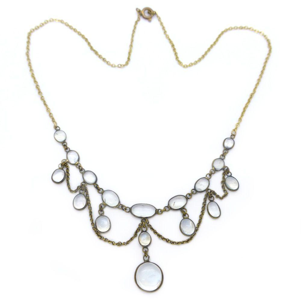 Antique Victorian Moonstone Festoon Cabochon Swag Necklace  | Clarice Jewellery