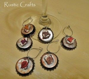 rustic leaf bottle cap wine glass charms diy