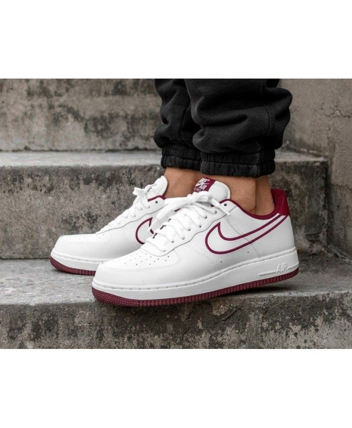 Nike Air Force 1'07 Leather Shoes In White Team Red | Outfit