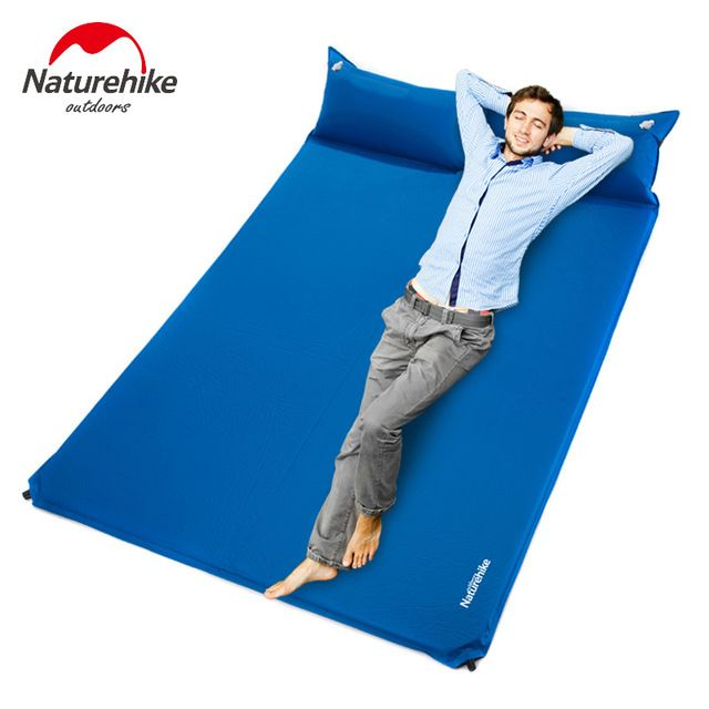 Naturehike Double Size Camping Mattress Two Seat Self Inflating Mat Pad Portable Bed With Pillow Camping Equi Camping Mattress Air Mattress Camping Camping Mat