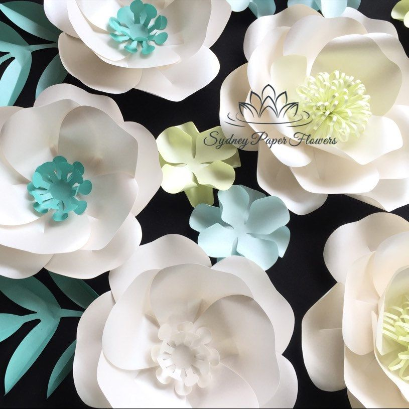 Aqua Spring Paper Flower Backdrop Paper Flower Wall Wedding Backdrop