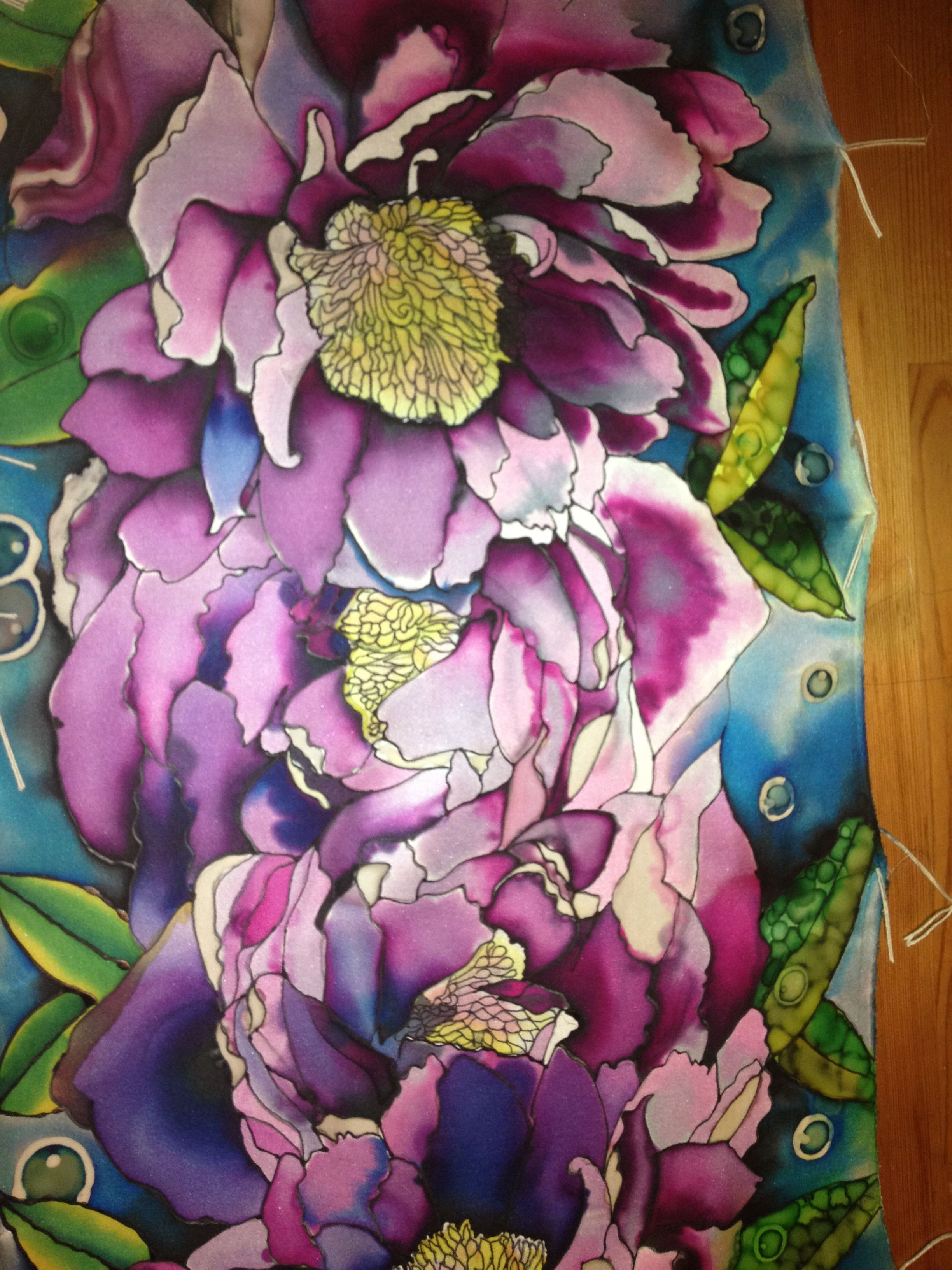 Silk Scarf In 15 Mome Silk Twill Hand Painted Gutta Serti And