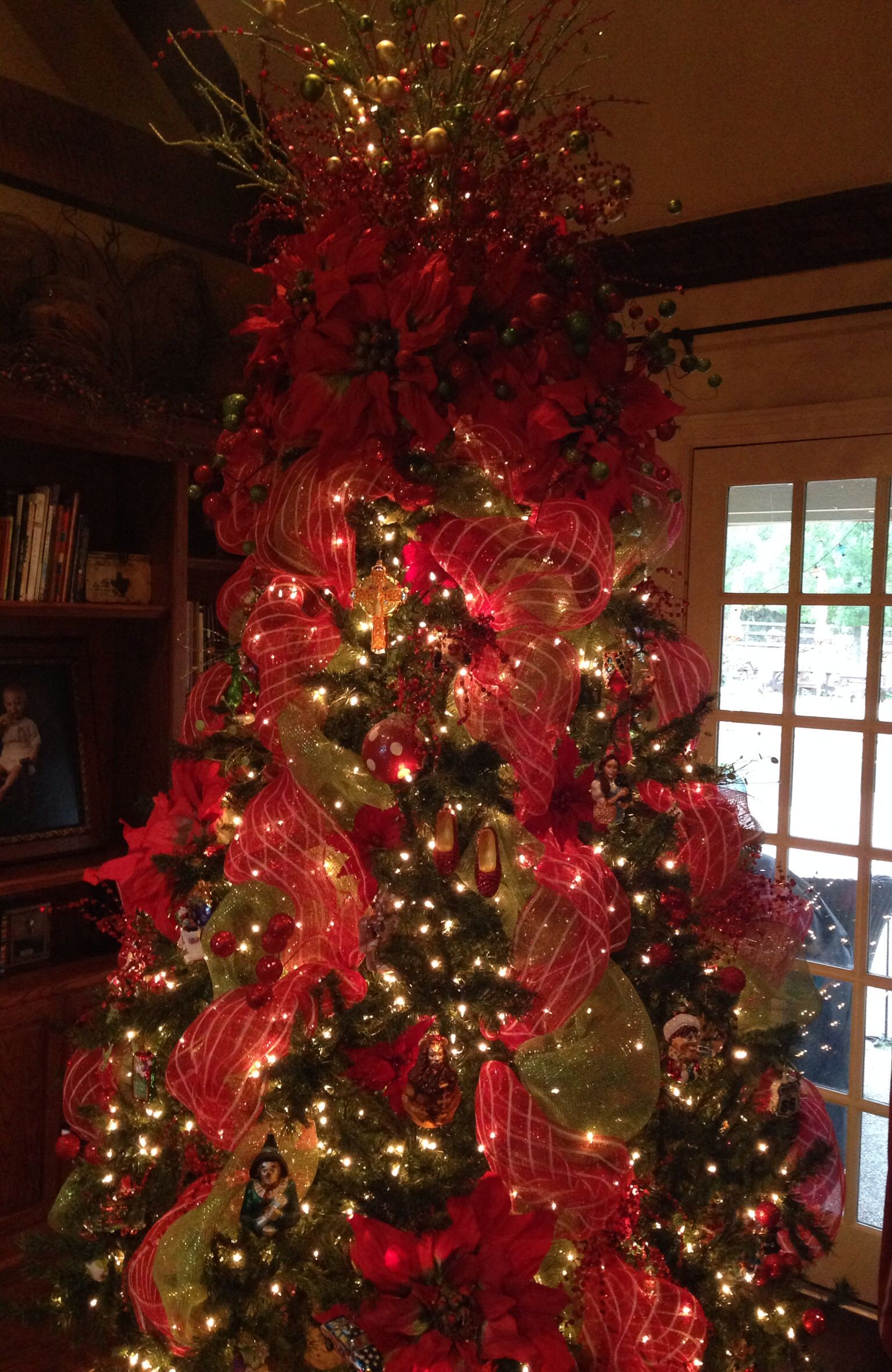 Christmas Tree Decorated With Red And Green Mesh With A