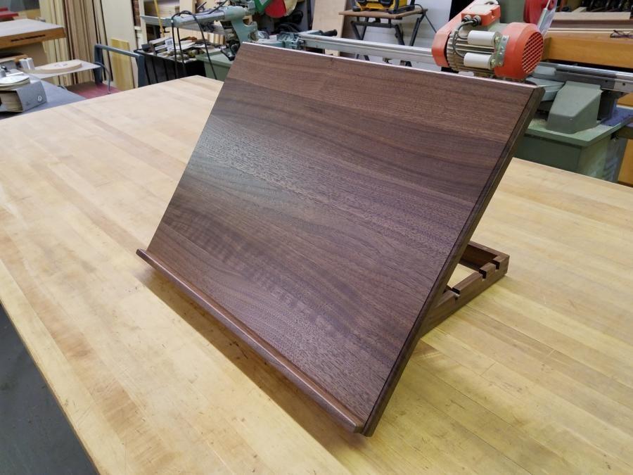 Adjustable and portable black walnut drawing board