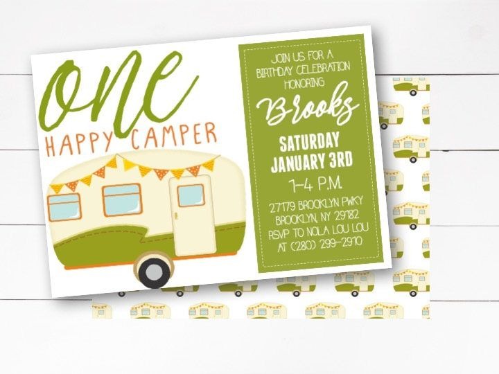 One Happy Camper Invitation 1st Birthday Camping Party