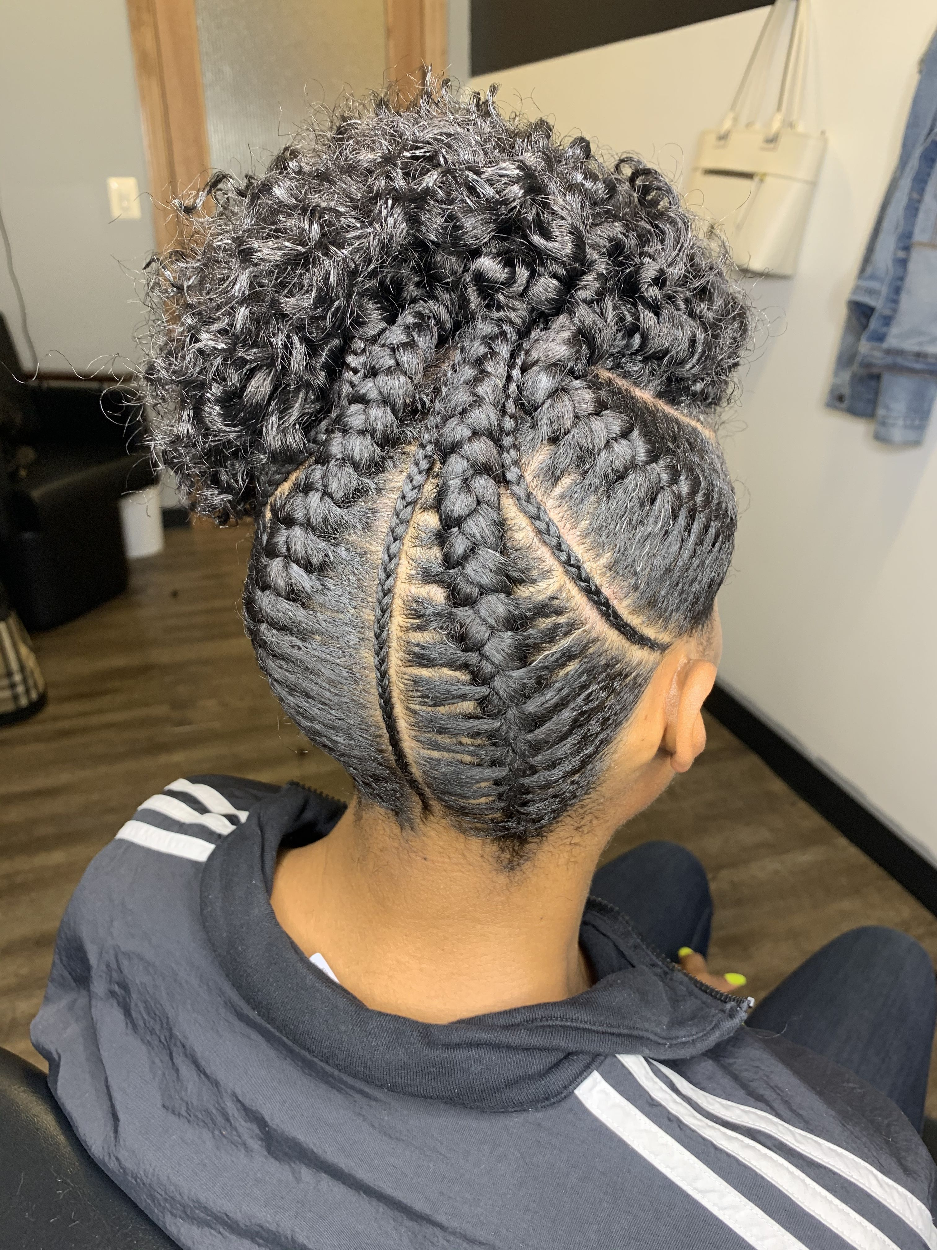 French Braids And Crochet In 2020 Natural Hair Salons Hair Styles Locs Hairstyles