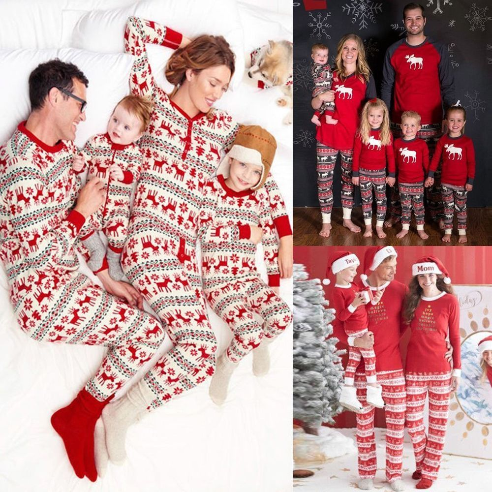 New Family Matching Christmas Pajamas Set Women Kids Deer Sleepwear Nightwear