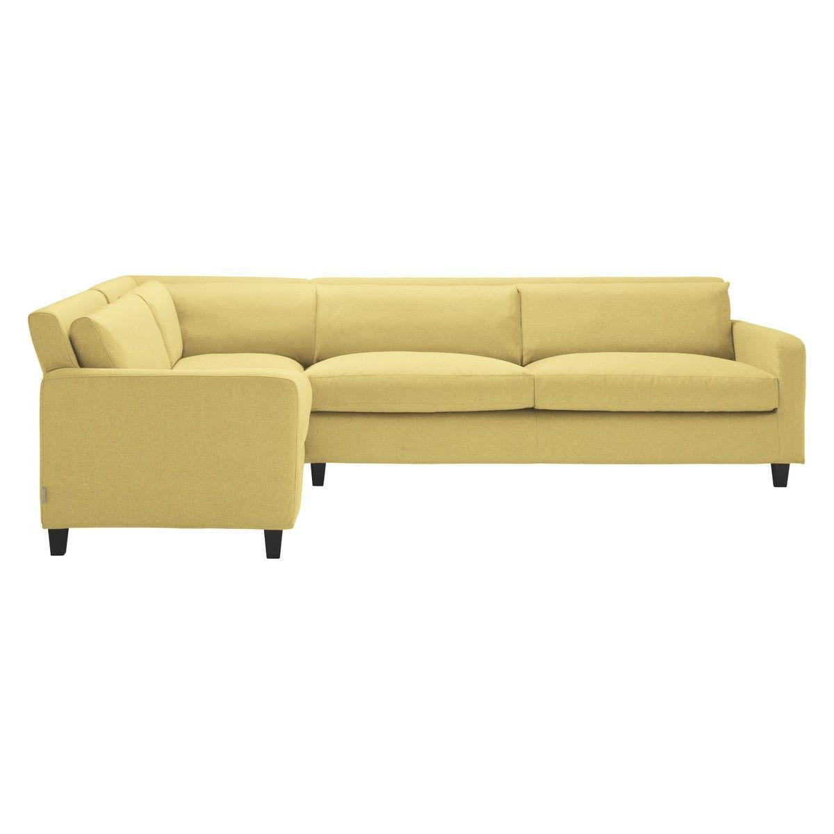 Chester Yellow Fabric Right Arm Corner Sofa Dark Stained Feet Corner Sofa Sofa Yellow Fabric