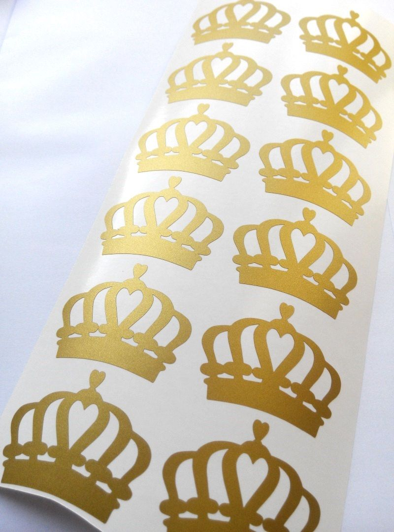 20 2\'\' Gold Crown stickers Vinyl Stickers princess party crown cup ...