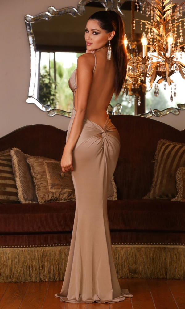 c1211904ad Bronze Nude Backless low-cut evening gown  180
