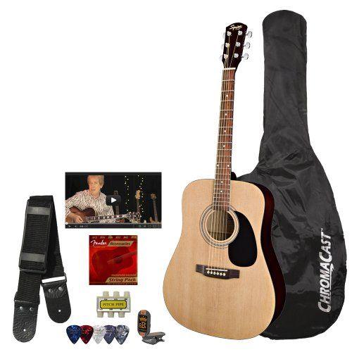 Squier By Fender Acoustic Guitar Bundle With Strings Strap Tuner Chromacast Guitar Bag Pick Sampler Fender Fender Acoustic Guitar Fender Acoustic Guitar Bag