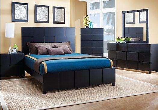 roxanne queen black 5pc panel bedroom future house. Black Bedroom Furniture Sets. Home Design Ideas