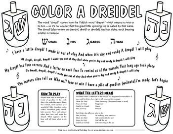Dreidel Coloring Page Includes meaning of the Hebrew letters and