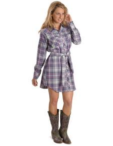 Exclusive Gibson Trading Purple Plaid Flannel Shirt Dress
