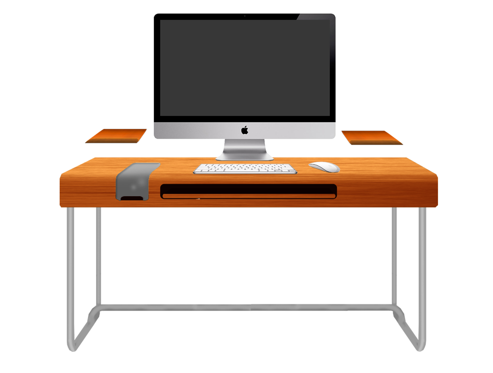 Modern Orange Computer Desk Design With Black Keyboard And