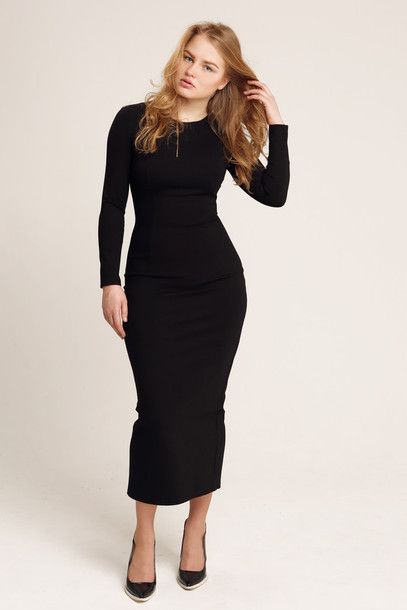 Soprano Plus Size Longsleeve Illusion Bodycon Dress in Black ...