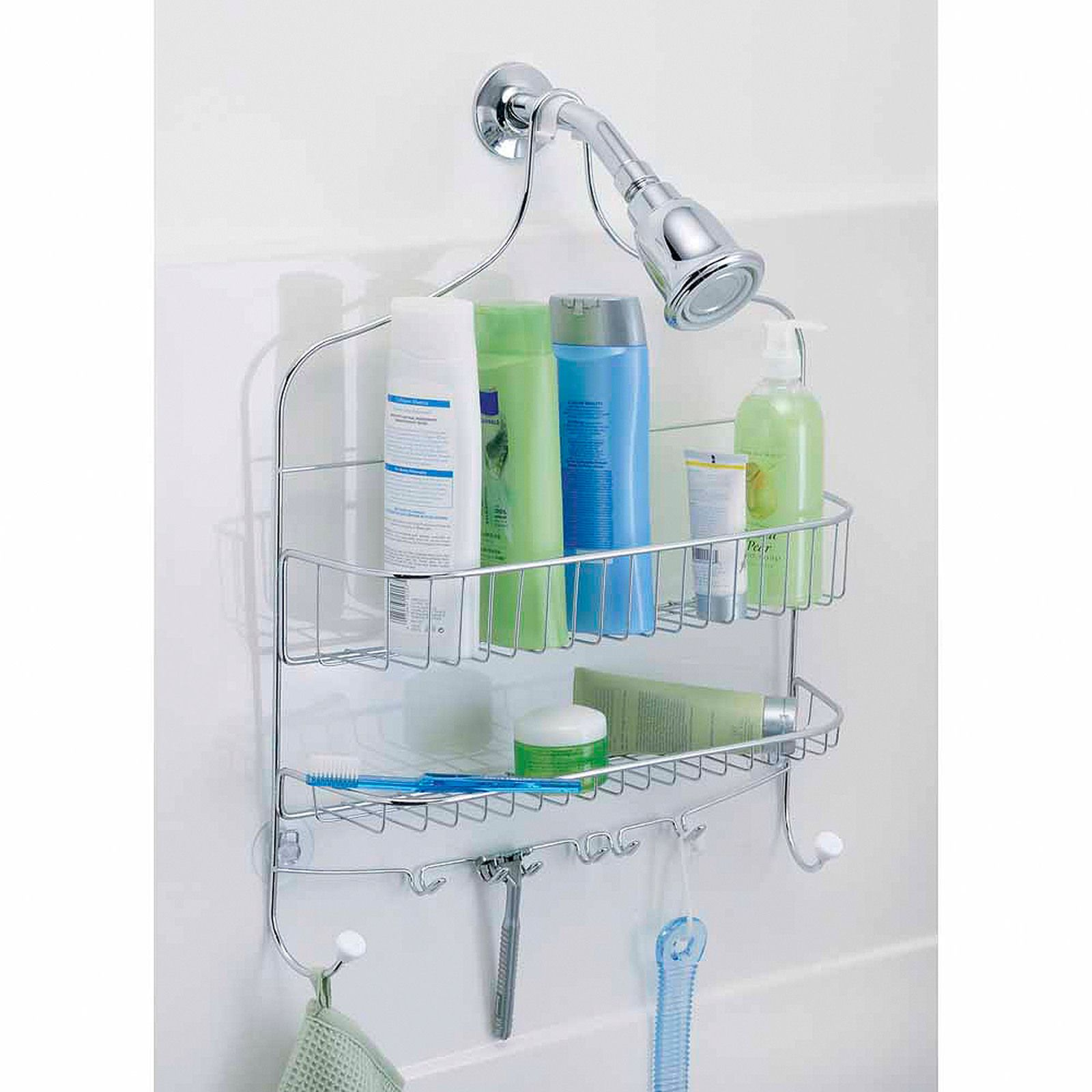 Stainless Steel Shower Caddy Hanging Bathroom Rack Store Set ...
