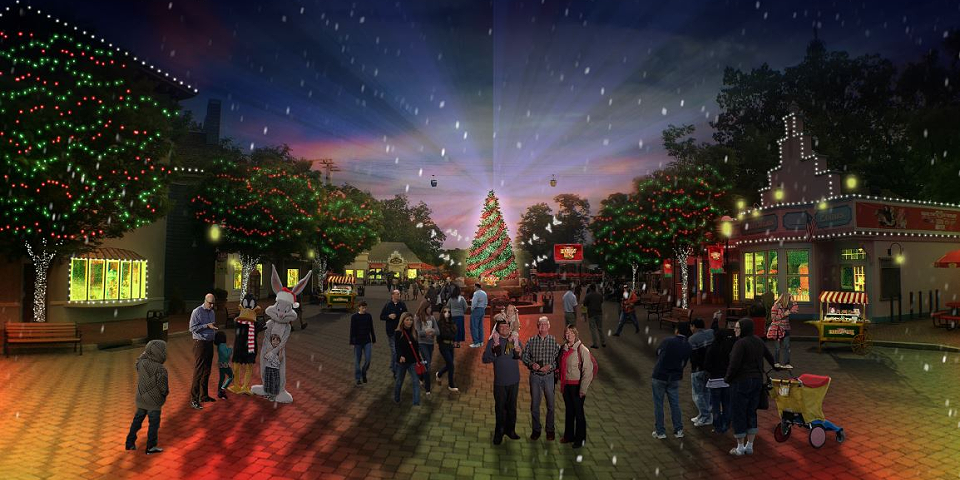 Tis The Season For Thrilling Roller Coasters Millions Of Dazzling Led Lights And Kisses Under The Mistletoe As Six Flags Enter Theme Park Park Roller Coaster