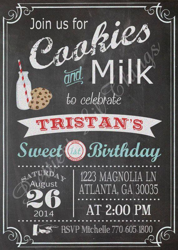 Vintage chalkboard cookies and milk invitation birthday party bridal or baby shower wedding - Geburtstagsideen zum 90 ...