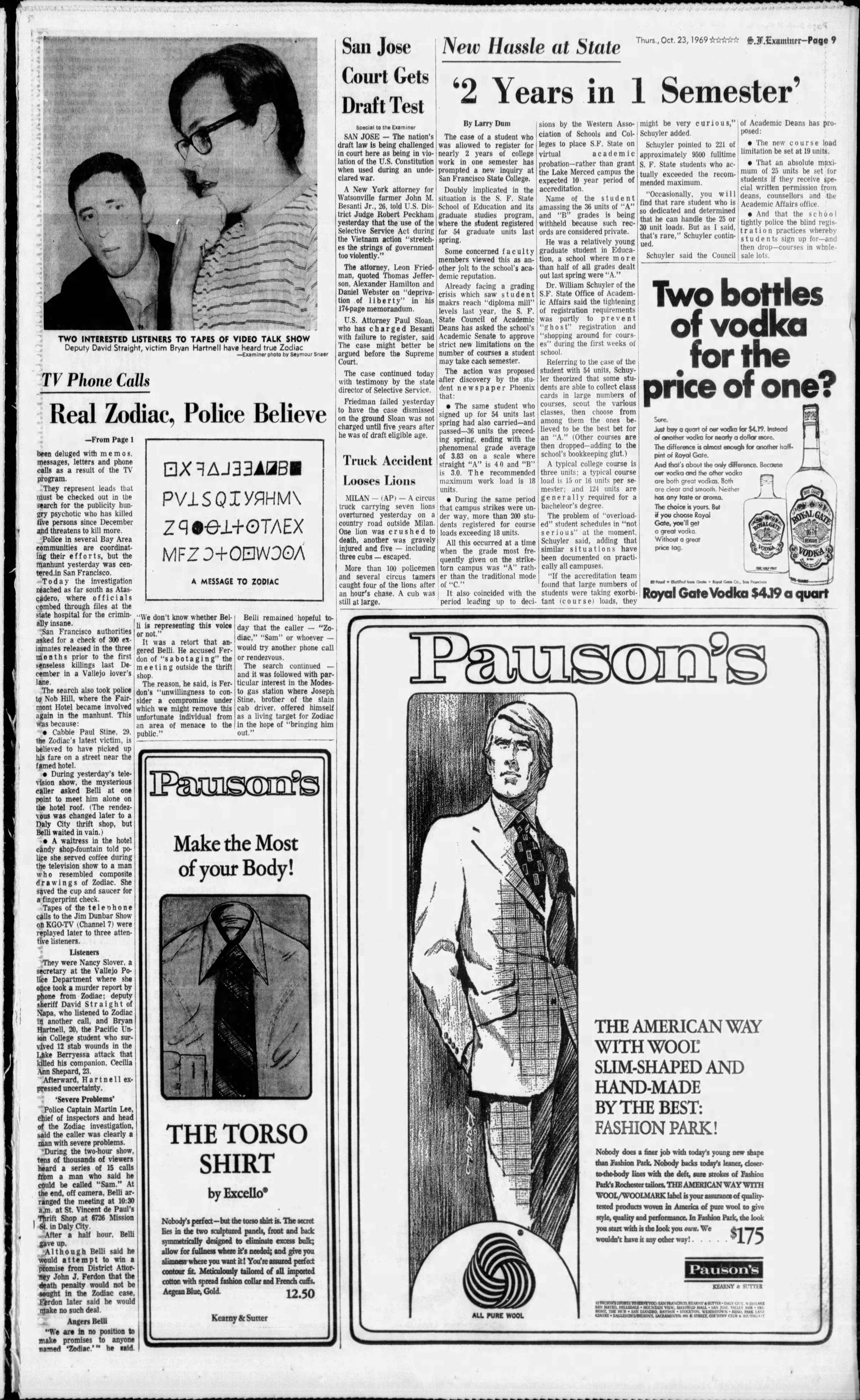 The Stanford Daily, Volume 156, Issue 21, 24 October 1969 — Message To The Zodiac Killer [ARTICLE]
