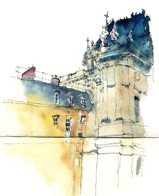 Palace Of Versailles France Watercolor Architecture Watercolor