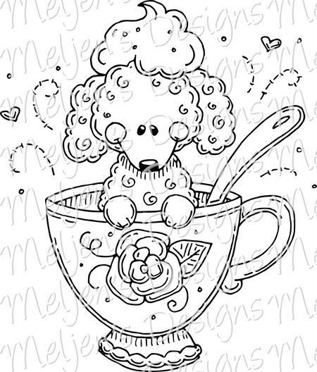 Teacup Poodle Meljen S Designs Animal Coloring Pages Tea Cup Poodle Dog Cards