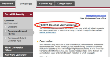 What is the FERPA Waiver on the Common Application