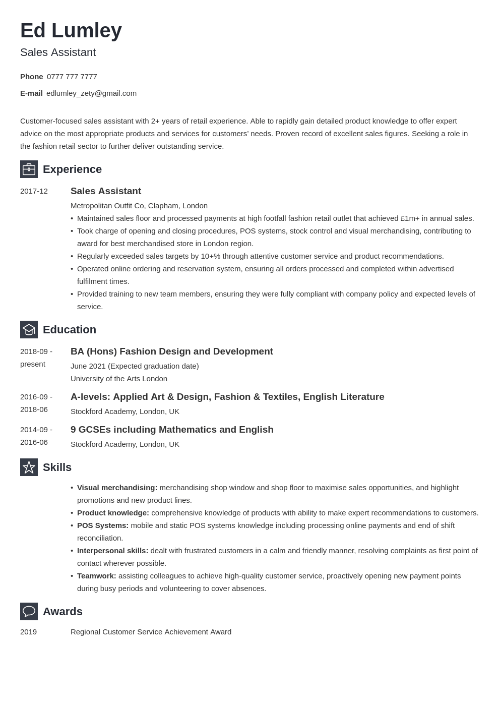 Retail CV Examples Template for a Sales Assistant