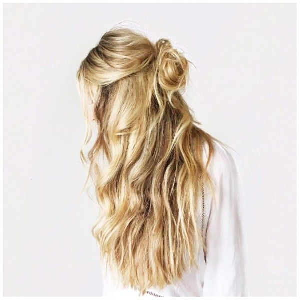 Half Up Bun ❤ liked on Polyvore featuring beauty products, haircare, hair styling tools, hair and hairstyles