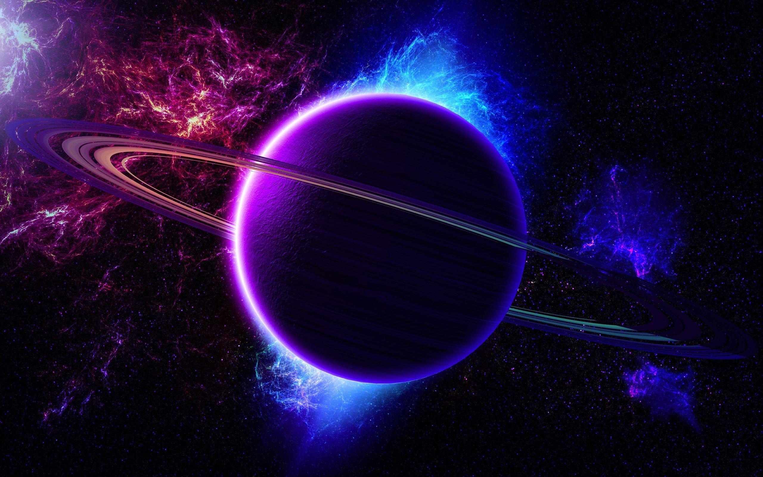 宇宙 星雲 惑星 リング ライト 紫青色 壁紙 2560x1600 壁紙ダウンロード 星雲 惑星 デスクトップの背景