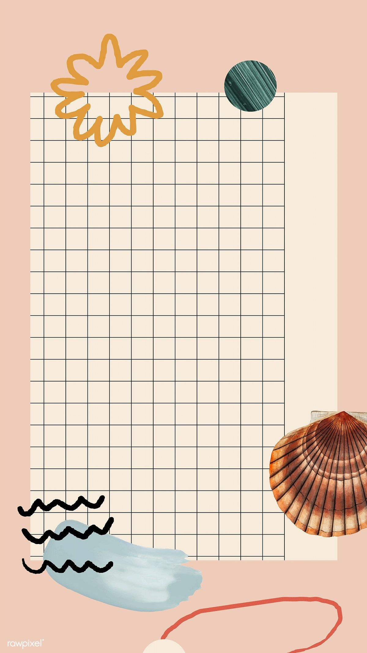 Download premium vector of Clam shell pattern on grid mobile phone wallpaper vector by katie about collage, aesthetic, Beach aesthetic background, abstract background, and aesthetic grid background 1219401