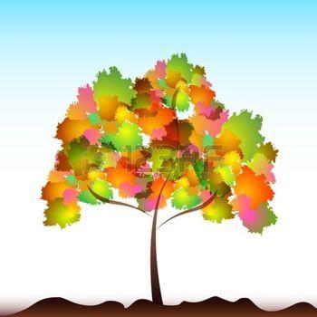 dibujos de hojas de otoño: Ilustración de árbol colorido sobre fondo aislado