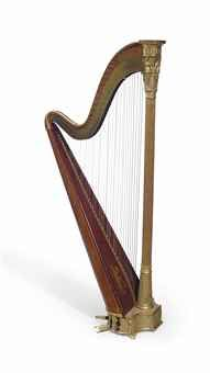 A REGENCY GILTWOOD AND BURLWOOD HARP BY ERARD LONDON 1811 With Eight