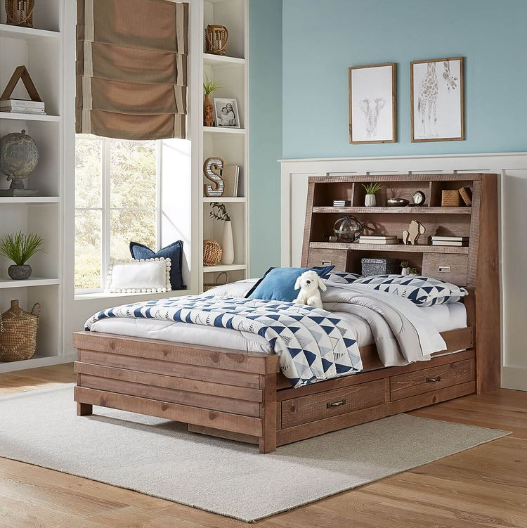 This Rustic Full Size Bookcase Bed is a great space saving